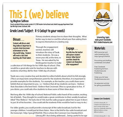 This I (We) Believe - Writing Worksheet for Grades K-5